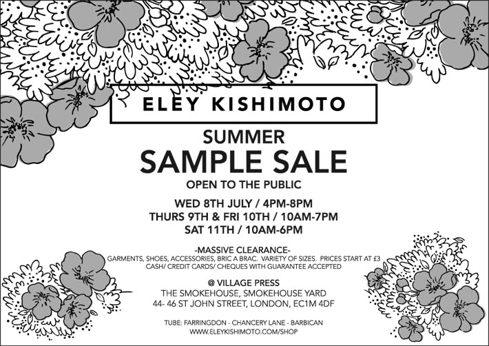 Sample Sale 8th - 11th July