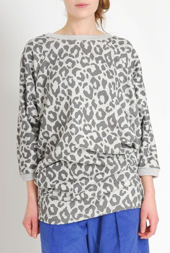 AW1112 LEOPARD BATWING RAGLAN DRESS - GREY - Other Image