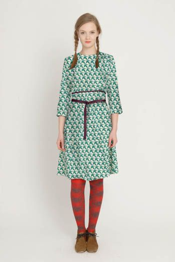 AW1213 THOUSAND PHEASANTS BELTED DRESS - DAMSON