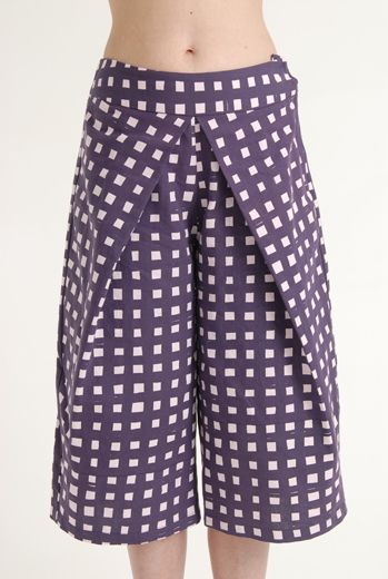 SS12 LAZY GRID PLEAT TROUSER - PURPLE - Other Image