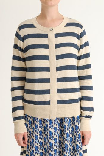SS12 STRIPED CARDIGAN - NAVY