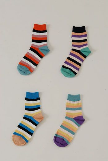 SS13 BOLD STRIPE ANKLE SOCKS - Other Image
