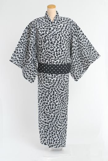 MEN'S YUKATA & OBI - BLACK/BLACK - Other Image