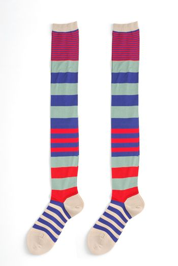 DOUBLE NEGATIVE STRIPE LONG SOCKS RED - Eley Kishimoto Online Shop :  knee winter autumn long