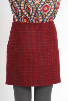 AW10/11 WOOL CHECK PARALLEL SKIRT-MAROON - Other Image