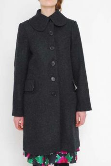 AW1112 WOOL MELANGE CAR COAT - BLACK