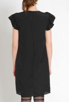 AW1112 CREPE DE CHINE BAT DRESS - BLACK - Other Image
