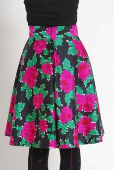 AW1112 PEG ART ROSES SWIRL SKIRT - PINK - Other Image