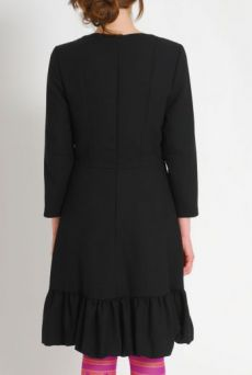 AW1112 WOOL CREPE PREPPY DRESS - BLACK - Other Image