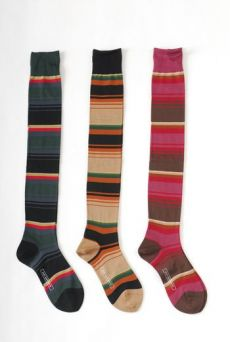 AW1112 STRIPED OVER KNEE SOCKS - BEIGE