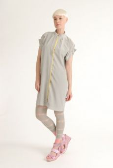 SS12 CREPE DE CHINE SHIRT DRESS - GREY - Other Image