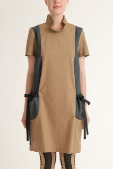 SS12 COTTON SATEEN POPPY DRESS - BROWN