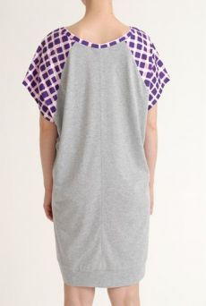 SS12 RAVIOLI CHECK COMBI DRESS - PURPLE - Other Image