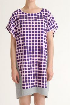 SS12 RAVIOLI CHECK COMBI DRESS - PURPLE