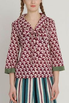 AW1213 THOUSAND PHEASANTS BOW FRONT BLOUSE - DAMSON