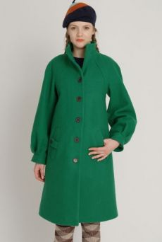 AW1213 WOOL MELTON FROG MOUTH COAT - GRREN
