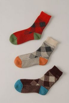 AW1213 CHECK ANKLE SOCKS - VARIOUS
