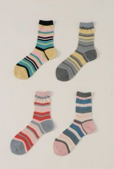 SS13 MULTI STRIPE ANKLE SOCKS