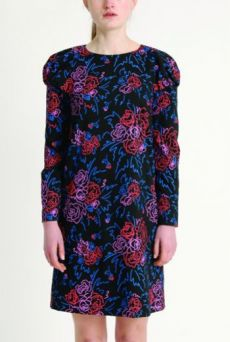 AW1314 FELT TIP ROSES PUFF SHOULDER DRESS
