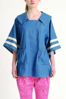 AW1314 COTTON DENIM SAILOR COLLAR TOP