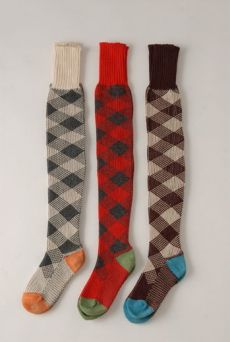 AW1213 CHECK OVER KNEE SOCKS - VARIOUS