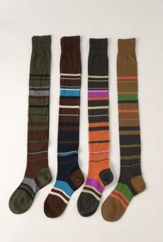 AW1213 STRIPE OVER KNEE SOCKS - VARIOUS