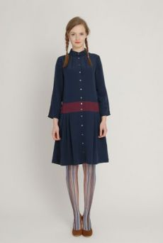 AW1213 CREPE DE CHINE LOYAL DRESS - SLATE - Other Image